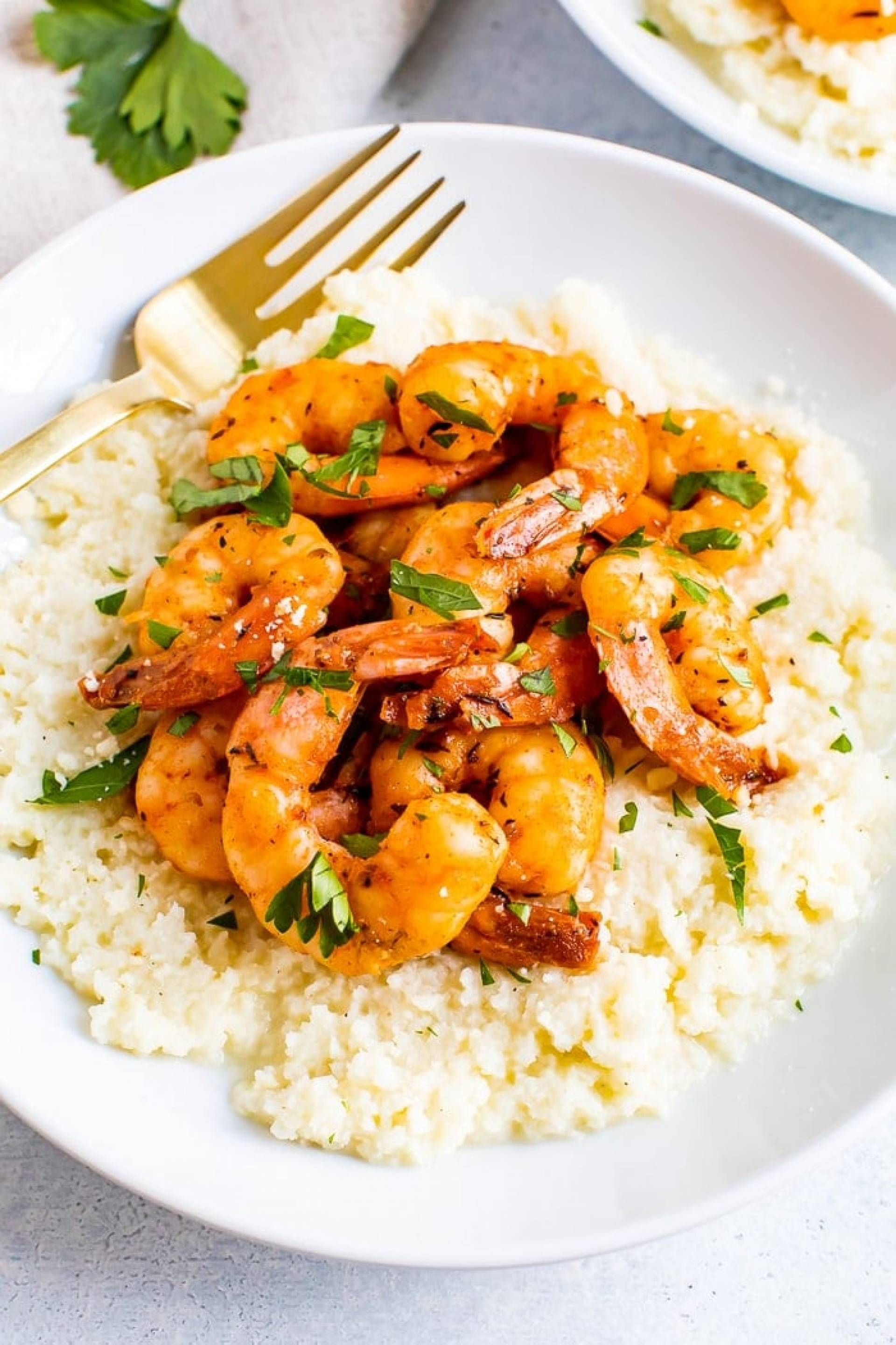 Sweet and Tangy BBQ Shrimp with Cheddar Cauliflower Grits